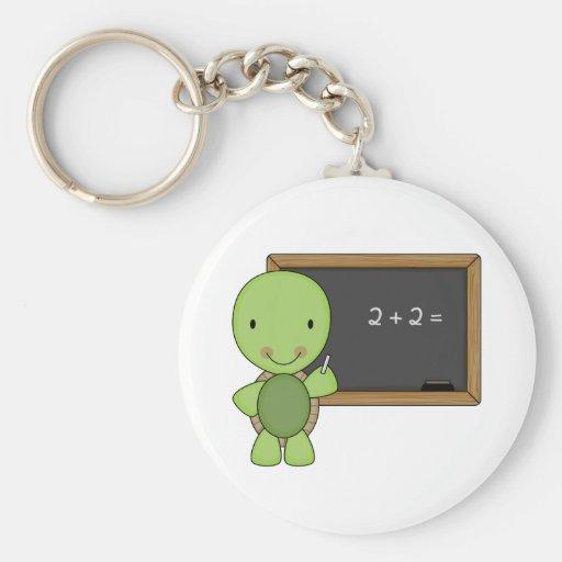 little chalkboard turtle basic round button keychain