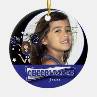 Little Cheerleader - DIY Photo -  Dark Blue Ceramic Ornament