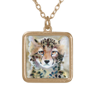 """Little Cheetah"" Watercolor Print Gold Plated Necklace"