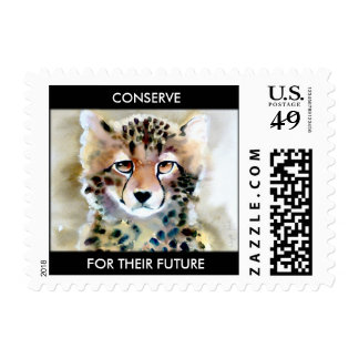 """Little Cheetah"" Watercolor Print Postage Stamp"