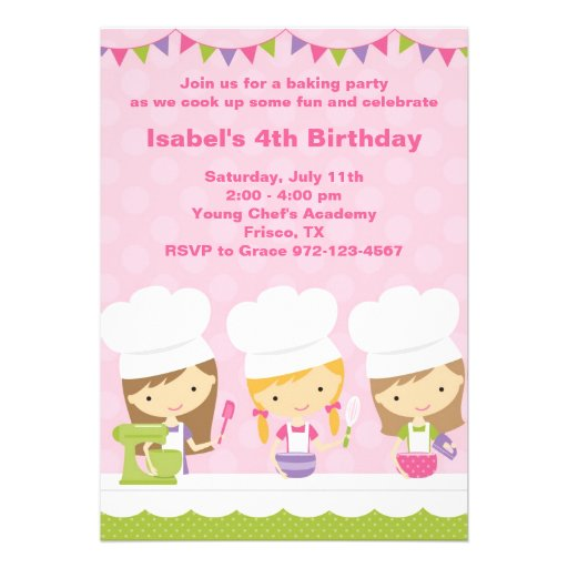 Little Chef Baking Birthday Party Invitations Announcement