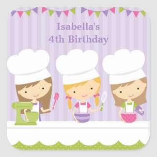 Little Chef Baking Birthday Party Stickers Stickers