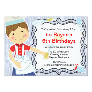 Little Chef Cooking and baking party for boys 5x7 Paper Invitation Card