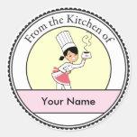 Little Chef Illustration on Round Label Round Sticker