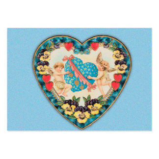 Little Cherubs with Heart Blue Background Large Business Card