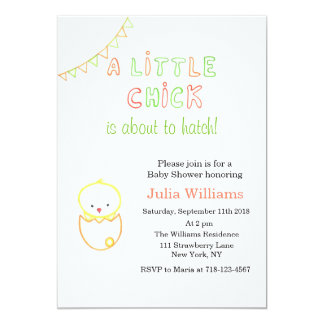Little Chick About To Hatch Baby Shower Invitation