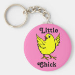 Little Chick Bright Yellow Chicken With Wings Up Keychain