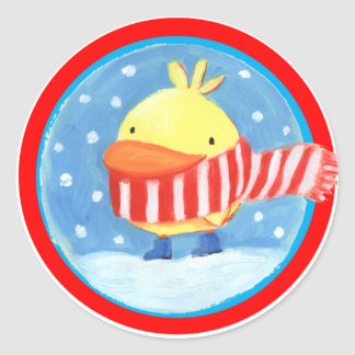 little chick in winter classic round sticker