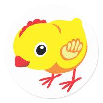 little chicken classic round sticker