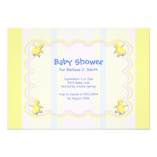 yellow striped pasels baby shower invitation with cute baby chickens