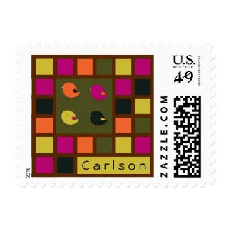 little chicks bright squares postage stamp