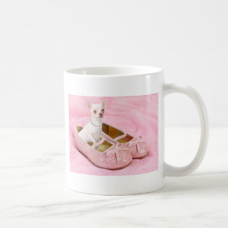 Little chihuahua in pink girly shoes with glitter coffee mug