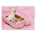 Little chihuahua in pink girly shoes with glitter greeting card