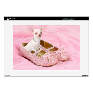 "Little chihuahua in pink girly shoes with glitter skins for 15"" laptops"