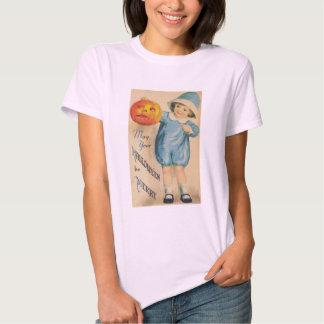 Little Child Holding a Halloween Vintage Pumpkin T-Shirt