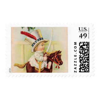 LITTLE CHILD WITH TOP HAT ON THE TOY HORSE POSTAGE