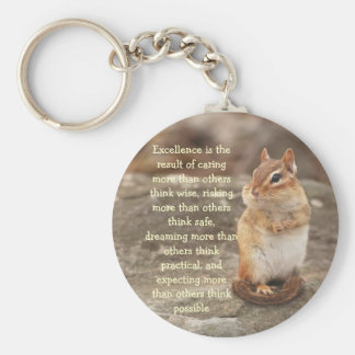 Little Chipmunk Excellence Quote Keychain