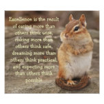 Little Chipmunk Excellence Quote Poster