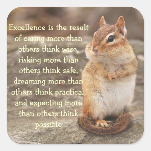 Little Chipmunk Excellence Quote Sticker