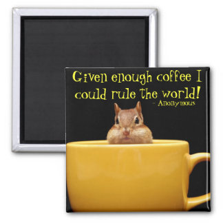 little chipmunk in coffee cup 2 inch square magnet