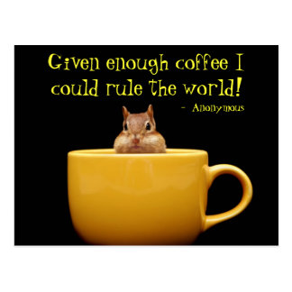 little chipmunk in coffee cup postcard