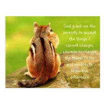 Little Chipmunk Serenity Prayer Postcard