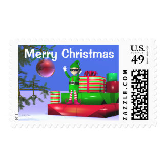Little Christmas Elf on Gifts Postage