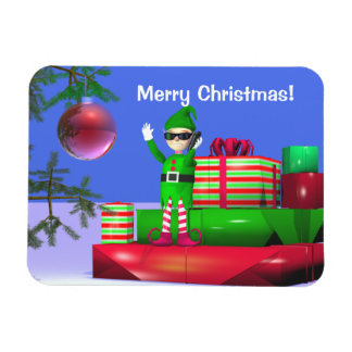 Little Christmas Elf Standing on Gifts Magnet