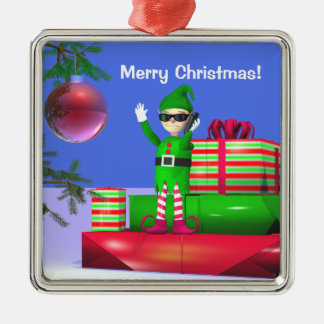 Little Christmas Elf Standing on Gifts Metal Ornament