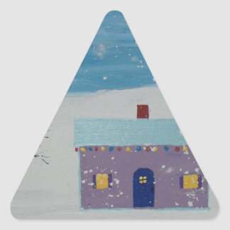 Little Christmas House Triangle Sticker