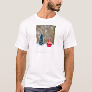 Little christmas tree with red bauble in snow T-Shirt