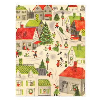 Little Christmas Village Postcard