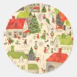 Little Christmas Village Round Stickers