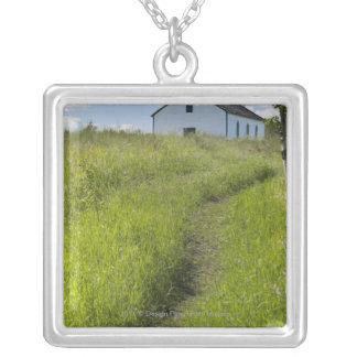 Little Church On The Canadian Prairies Silver Plated Necklace