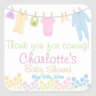 Little Clothes Baby Shower Party Favor Square Sticker