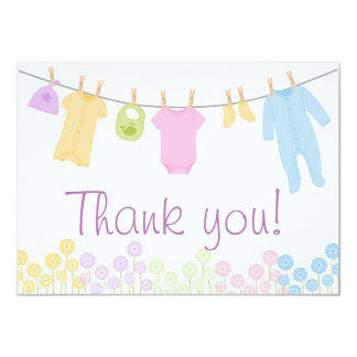 Little Clothes Baby Shower Thank You Cards