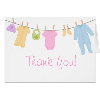 Little Clothes Baby Shower Thank You Cards Greeting Card