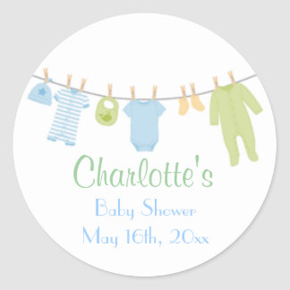Little Clothes Blue & Green Baby Shower Stickers Sticker