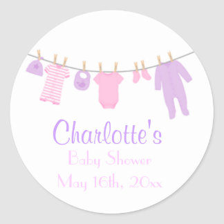 Little Clothes Pink & Purple Baby Shower Stickers