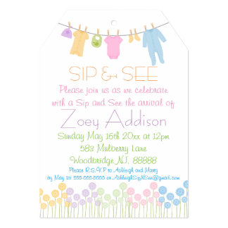 Little Clothes Sip and See Card