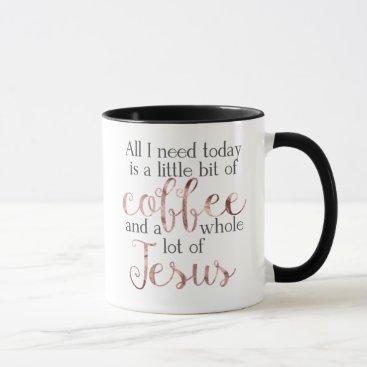 Coffee Themed Little Coffee, Lot of Jesus Mug - Rose