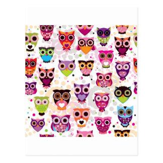 Little Colorful Cute Owls Print Pattern Postcard