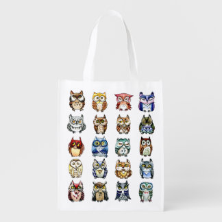 Little colorful owls and cat watercolor grocery bag