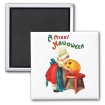 Little cook girl with carved pumpkin, Halloween Magnet