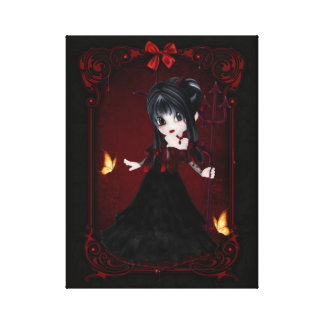 Little Cookie Devil Girl Design 1 Wrapped Canvas