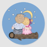 Little Couple watching the Night Sky Stickers