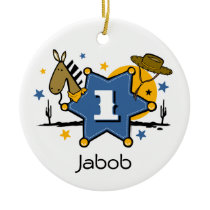 Little Cowboy 1st Birthday Keepsake Ornament