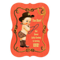 Little Cowboy 1st Birthday Party Card