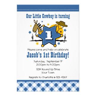 Little Cowboy 1st Birthday Party Invitation