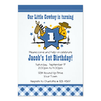 Little Cowboy 1st Birthday Party Invitation